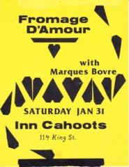 Marques Bovre opening for Fromage D'Amour, January 31, 1987