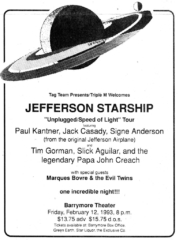 Marques Bovre and the Evil Twins opening for Jefferson Starship, February 2, 1993