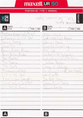 Jackie's copy of The Bathroom Tapes (J-card)