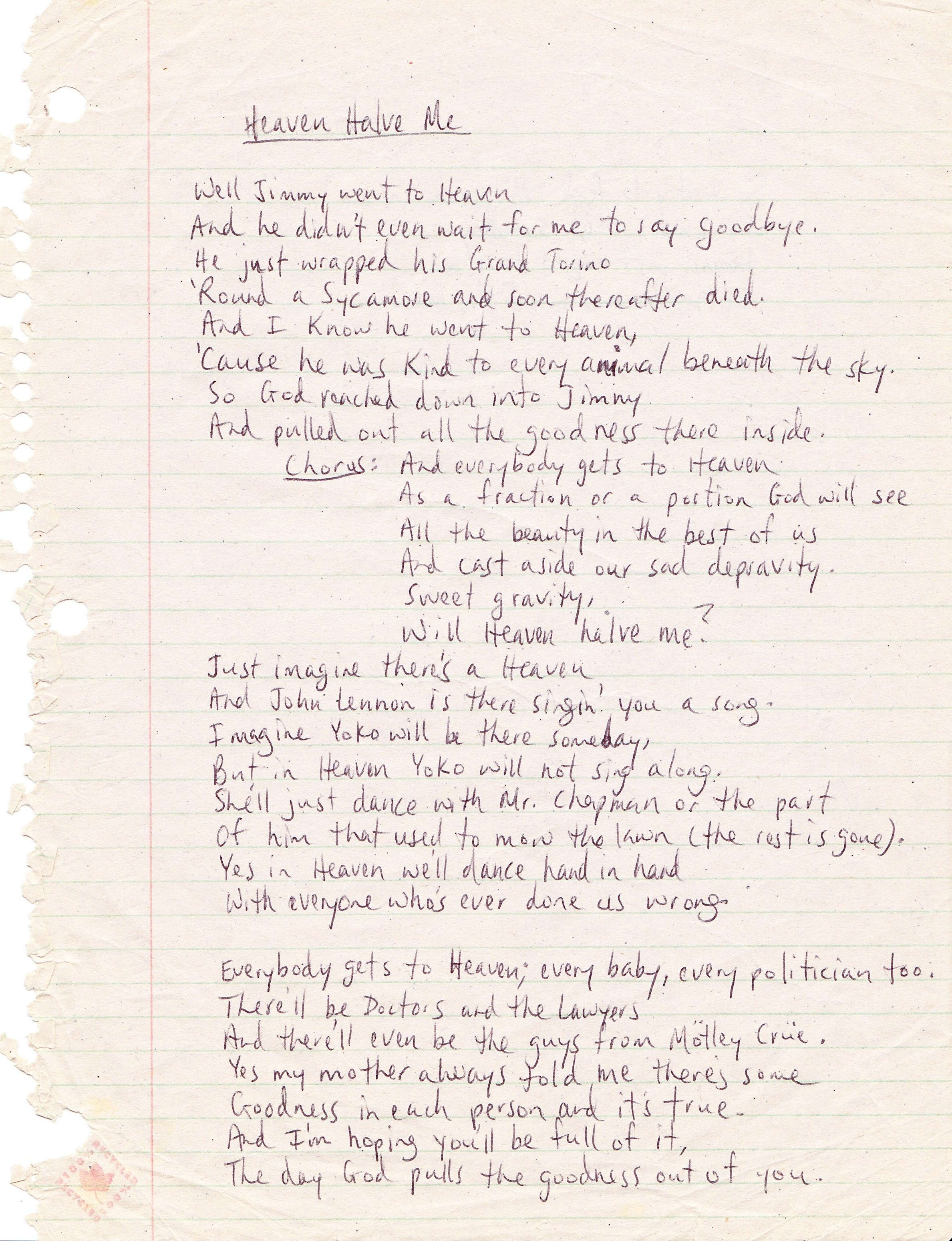 Lyric Sheets - Marques Bovre